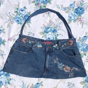 Vintage Denim Embroidered Sequin Floral Jean Bag
